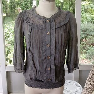 Pretty Victorian feminine gray lace top SZ medium